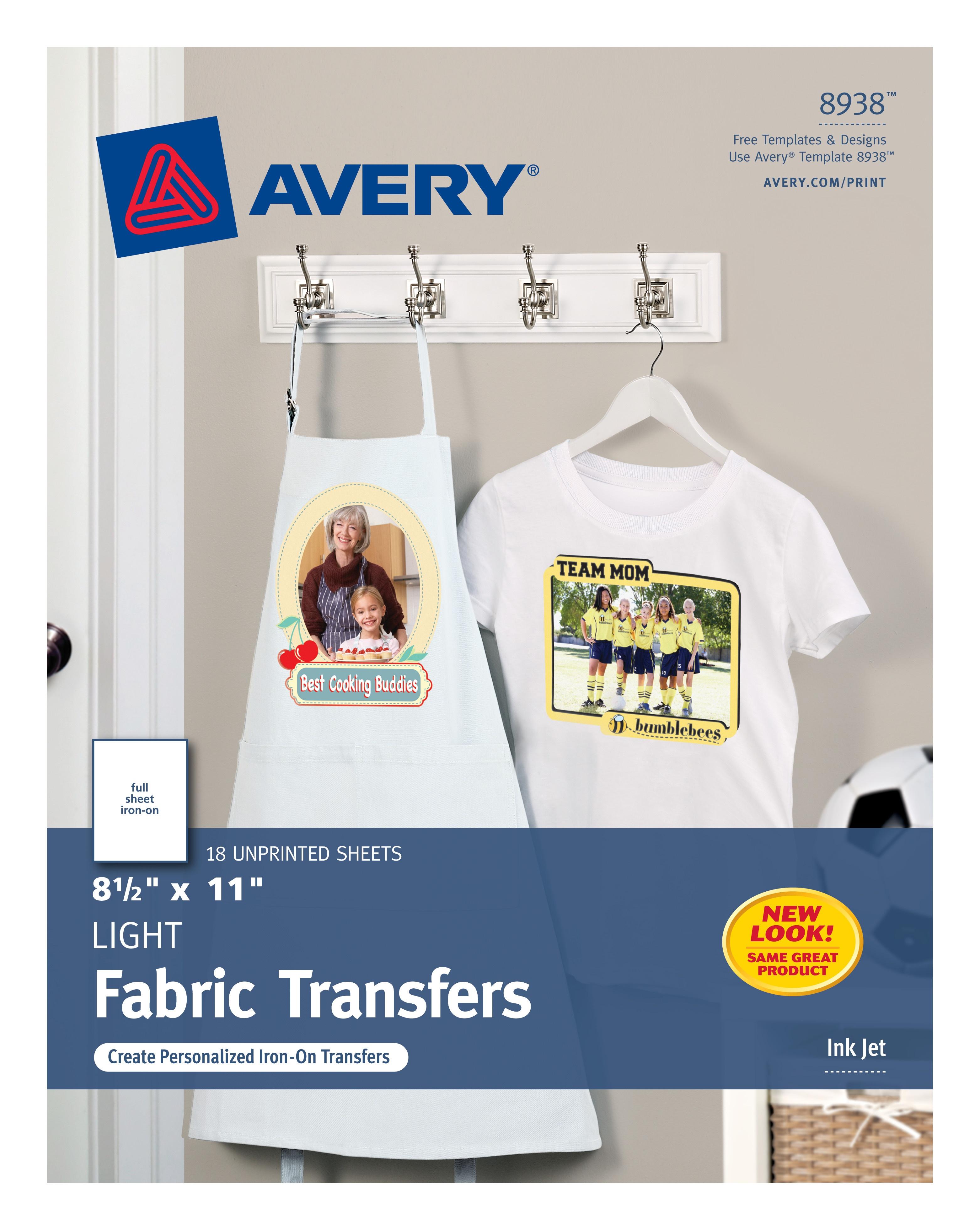 "Avery T-Shirt Transfers, 8-1/2"" X 11"", 18 Transfers (8938) - Walmart - Free Printable Iron On Transfers For T Shirts"