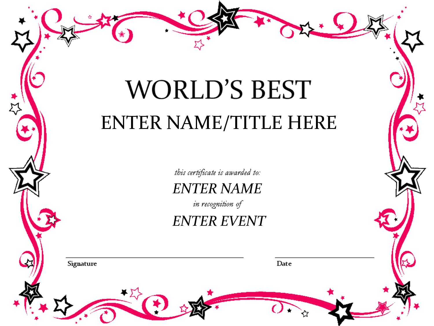 Award Certificate Template … | Shannon Early | Free … - Free Printable Best Daughter Certificate