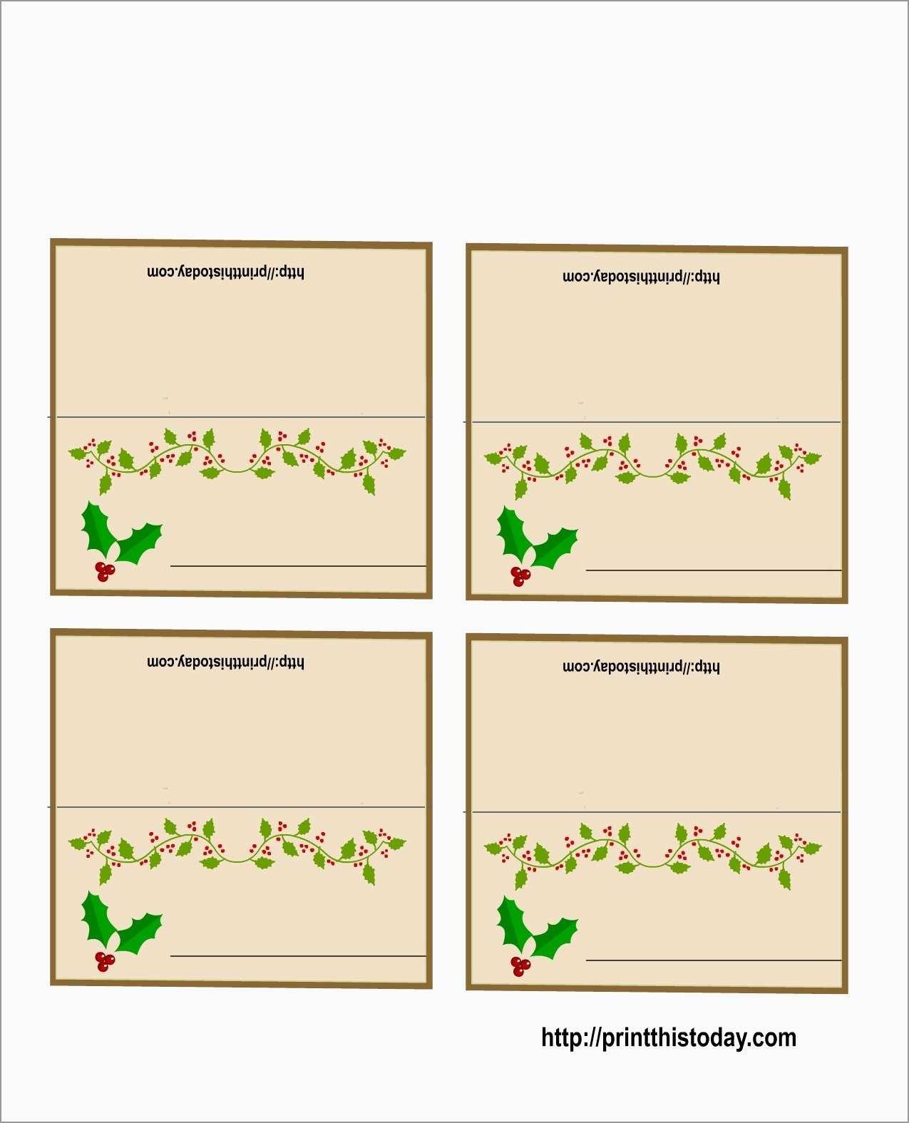Awesome Free Printable Christmas Table Place Cards Template   Best - Free Printable Place Card Templates Christmas