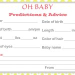 Baby Shower Baby Prediction Cards   Baby Prediction And Advice Cards Free Printable