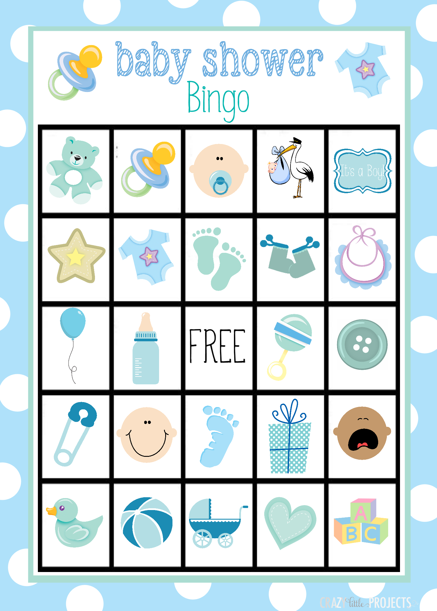 Baby Shower Bingo Cards - Free Printable Baby Boy Cards