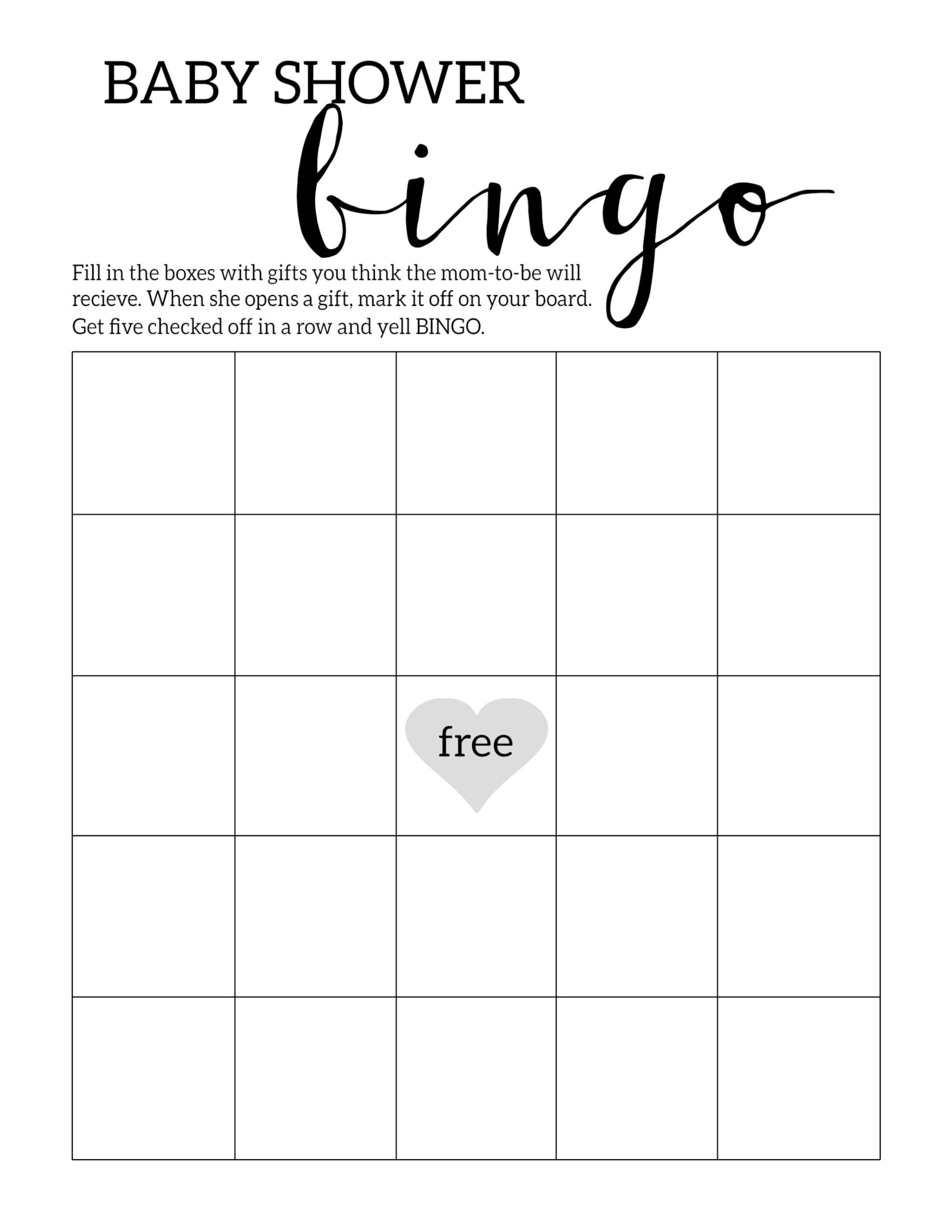 Baby Shower Bingo Printable Cards Template - Paper Trail Design - Printable Baby Shower Bingo Games Free