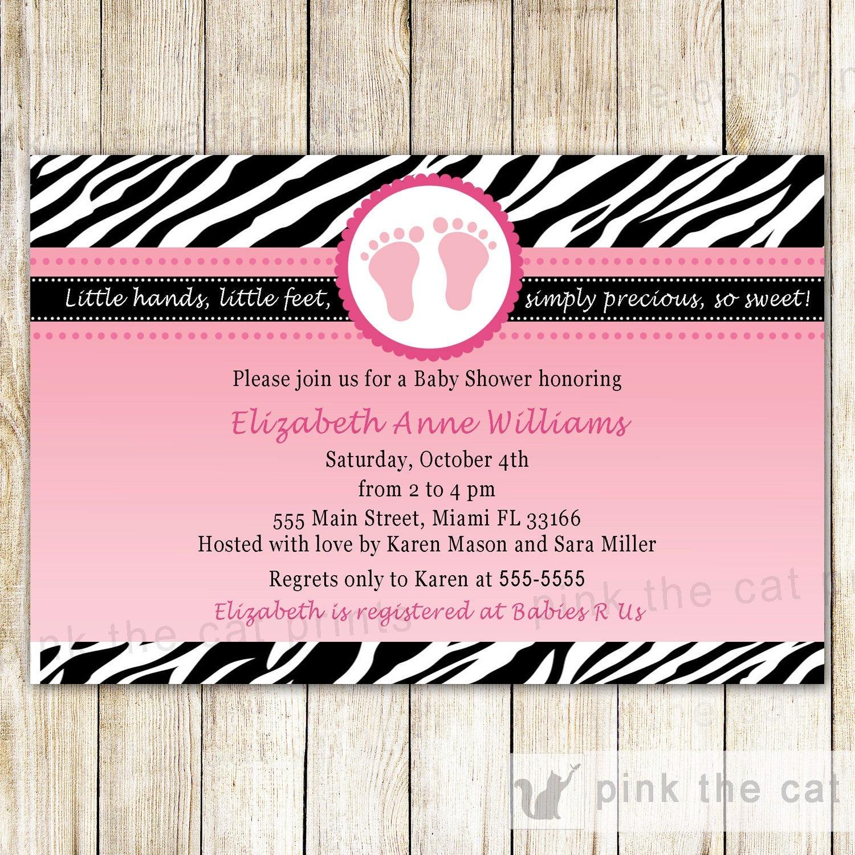 Baby Shower Invitation Card Pink Feet Invitation Zebra Baby | Etsy - Free Printable Zebra Baby Shower Invitations