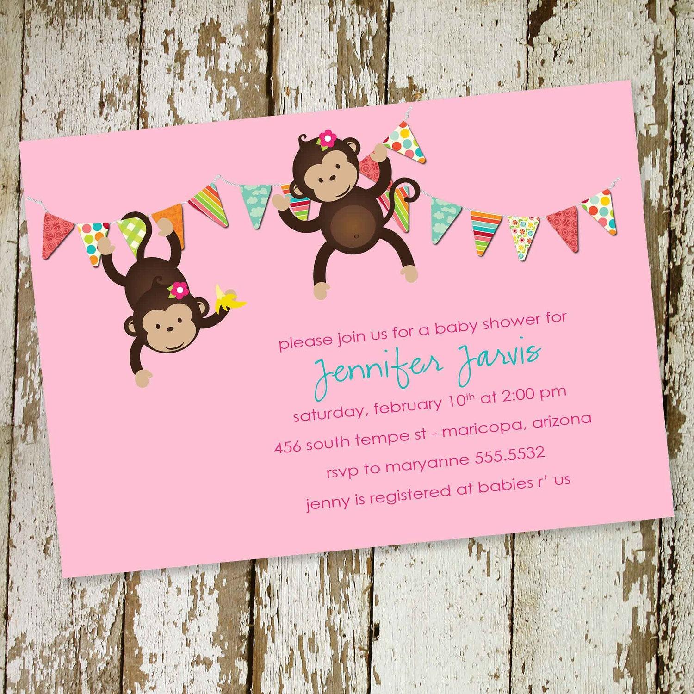 Baby Shower Invitations Monkey Theme Girl Copy Colors Monkey Baby - Free Printable Monkey Girl Baby Shower Invitations