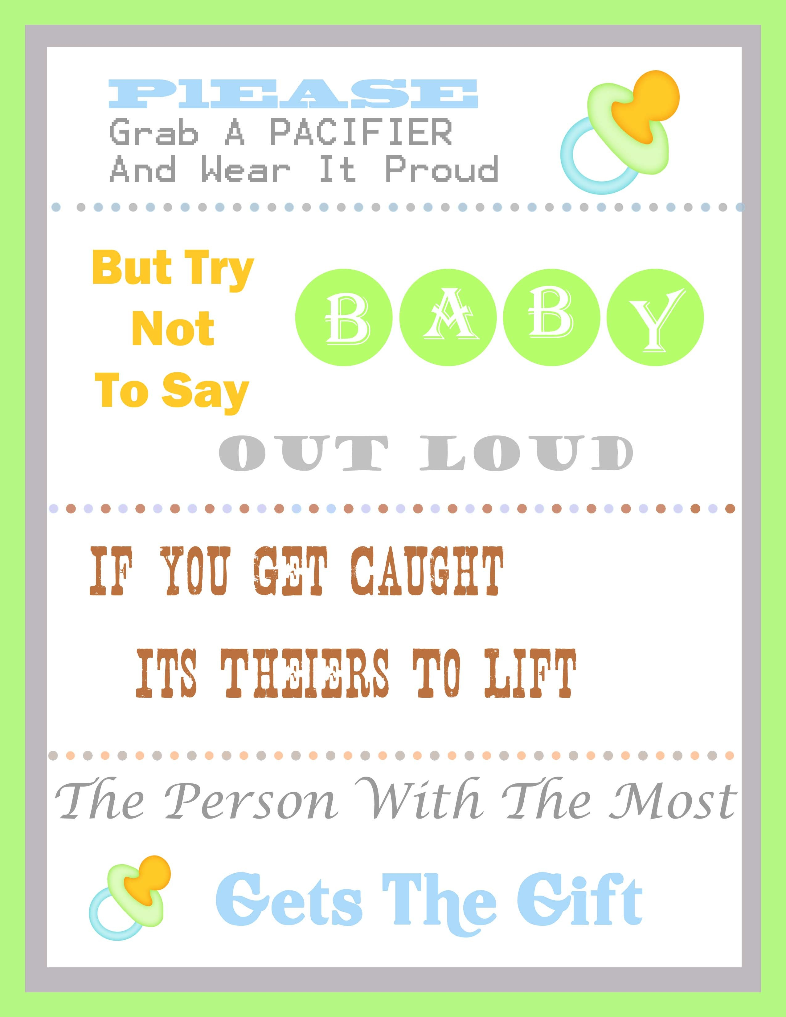 Baby Shower Pacifier Game - Pin The Dummy On The Baby Free Printable
