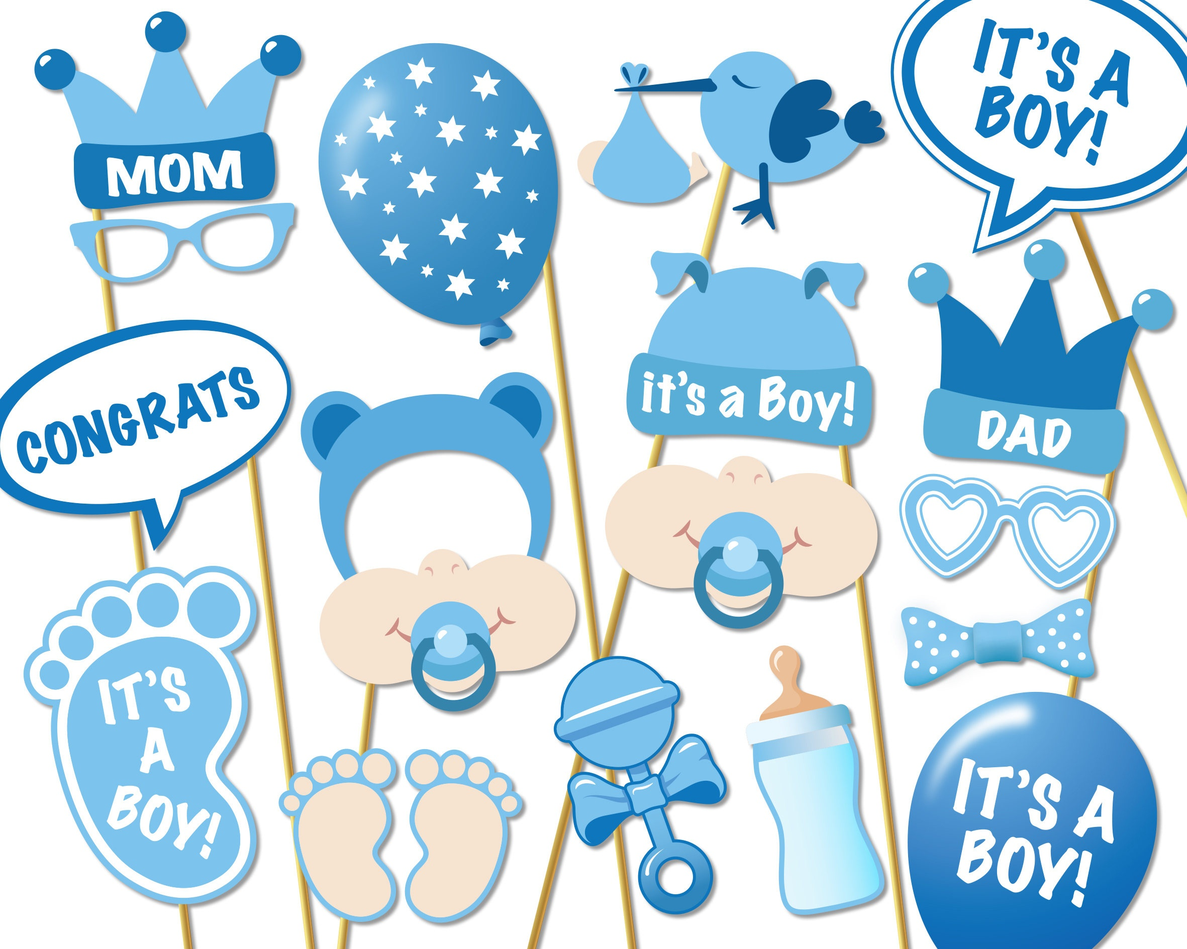 Baby Shower Photo Props It's A Boy Photo Booth Props | Etsy - Free Printable Boy Baby Shower Photo Booth Props