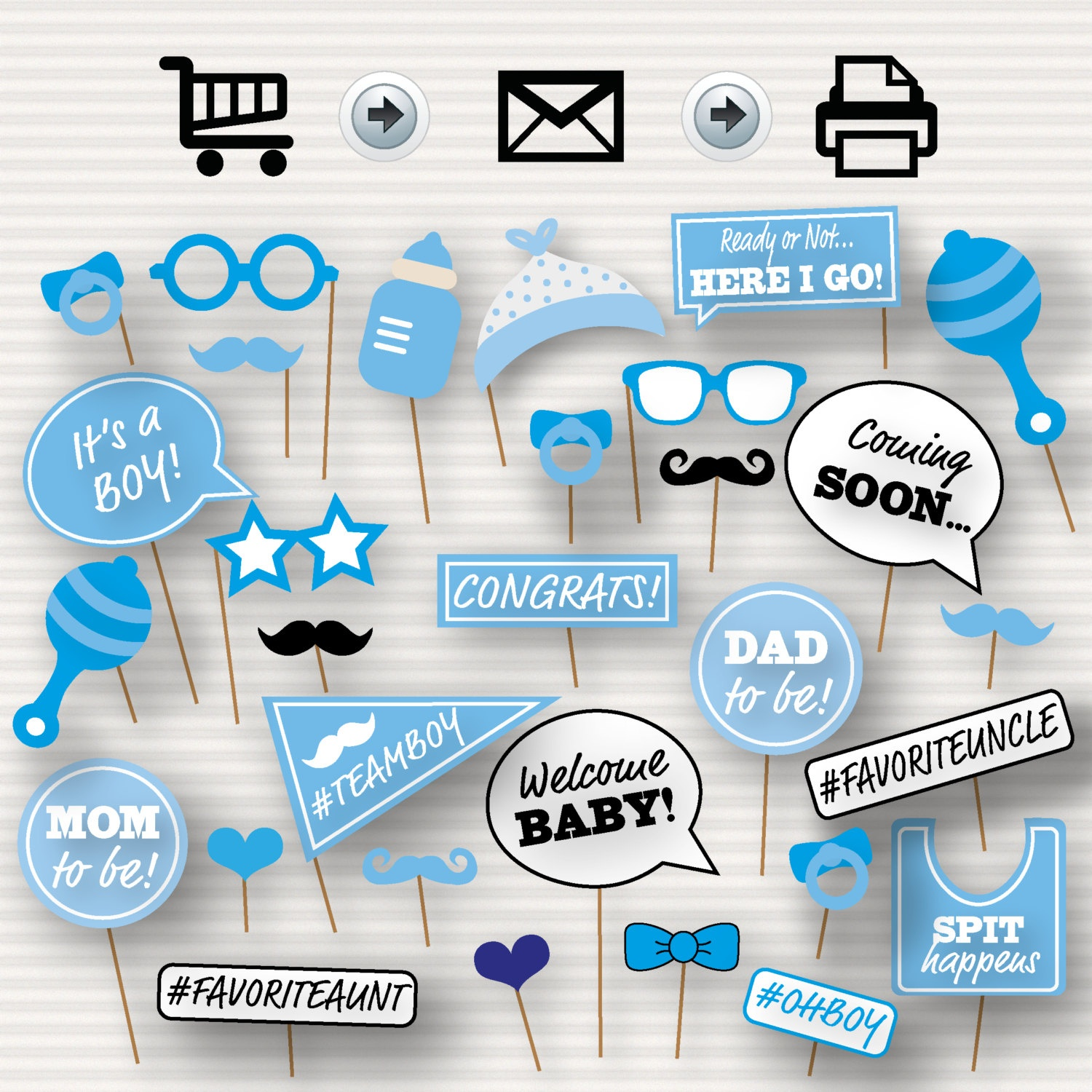 Baby Shower Printable Photo Booth Props Baby Shower   Etsy - Free Printable Boy Baby Shower Photo Booth Props