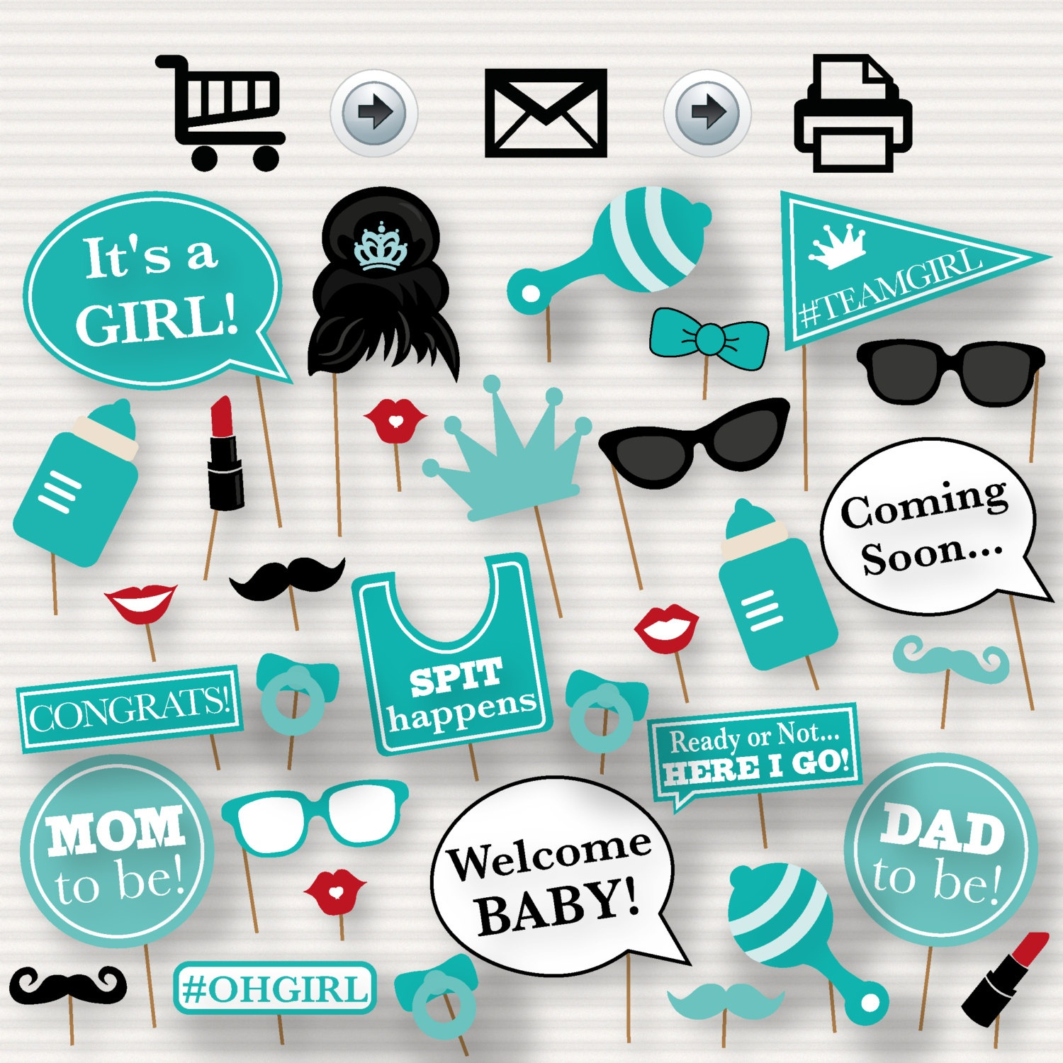 Baby Shower Printable Photo Booth Props Tiffany's Baby   Etsy - Free Printable Boy Baby Shower Photo Booth Props