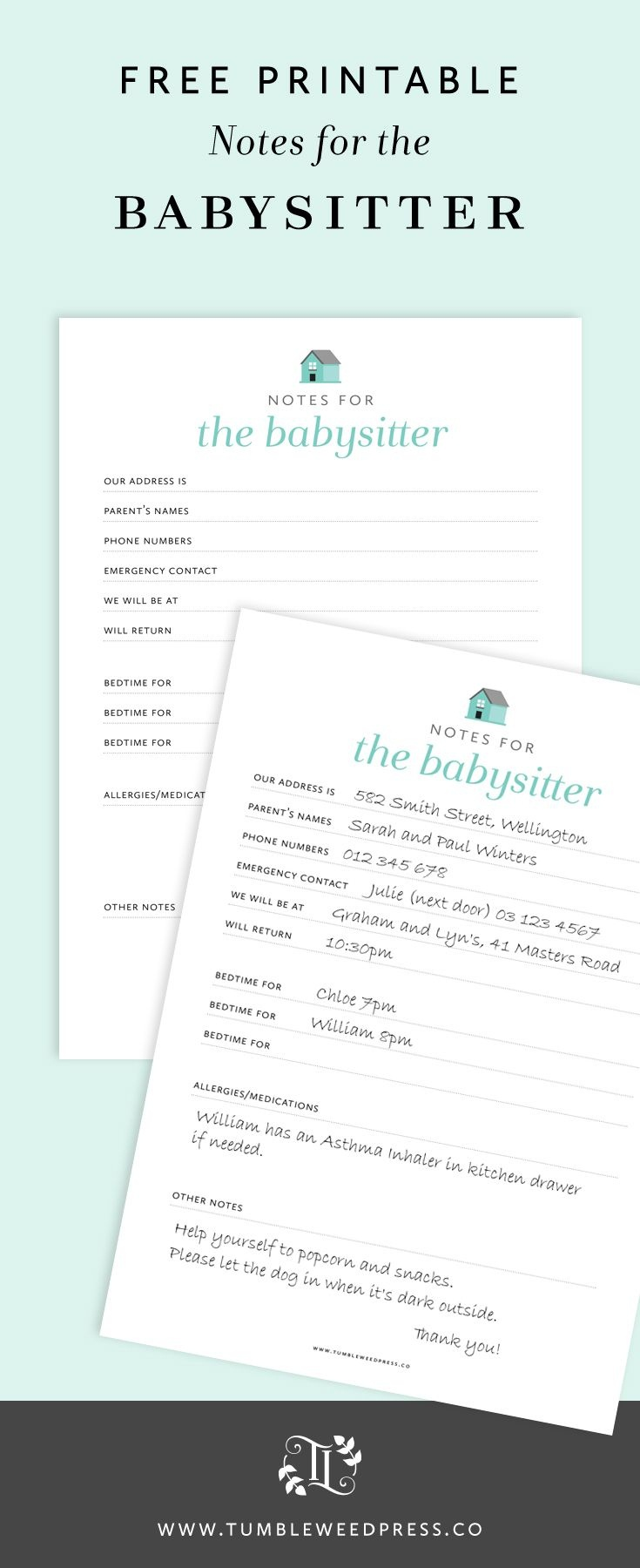 Babysitter Notes Free Printable | Print It Out | Babysitter Notes - Babysitter Notes Free Printable