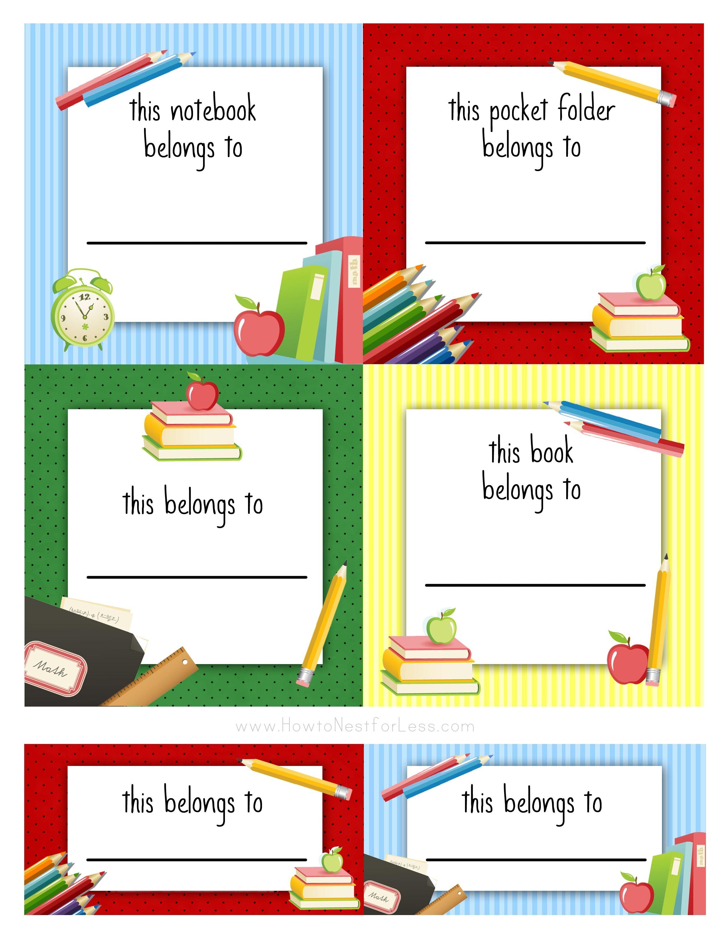 Back To School Labels For Kids | Printables, Freebies, Diy | Kids - Free Printable Name Labels For Kids