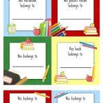 Back To School Labels For Kids | Printables, Freebies, Diy | Kids   Free Printable Name Tags For School Desks