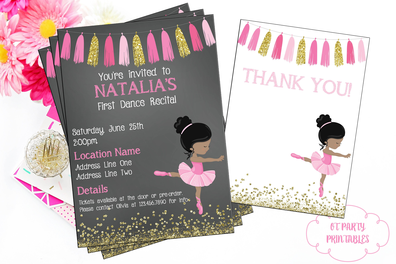 Ballet Recital Invitation Ballerina Dance Invitation Dance   Etsy - Free Printable Dance Recital Cards