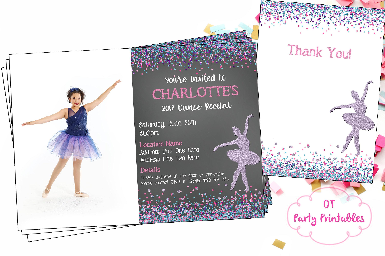 Ballet Recital Invitation Photo Invitation Ballerina Dance   Etsy - Free Printable Dance Recital Cards