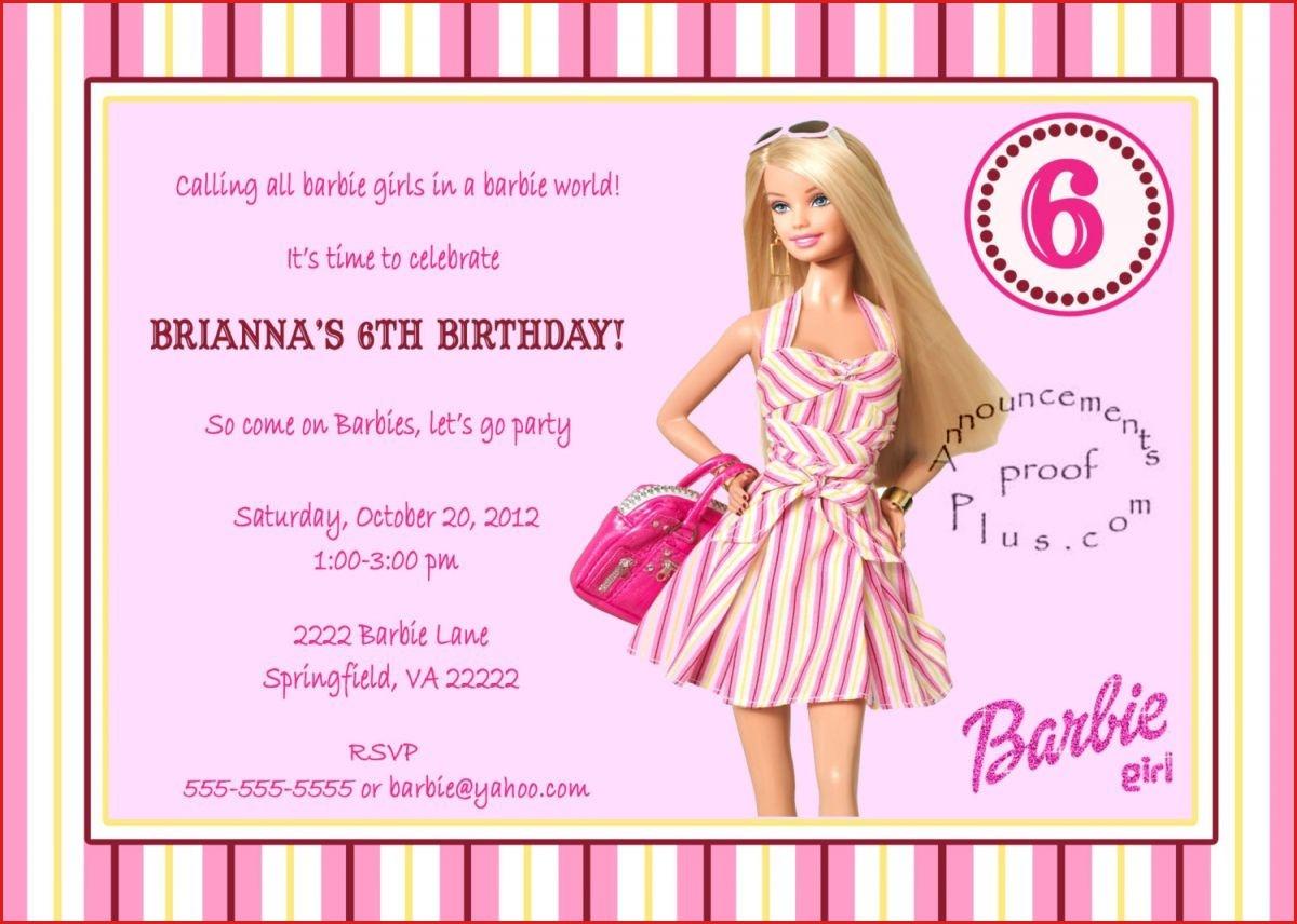 Barbie Birthday Invitation Card Free Printable Barbie Birthday - Free Printable Barbie Birthday Party Invitations