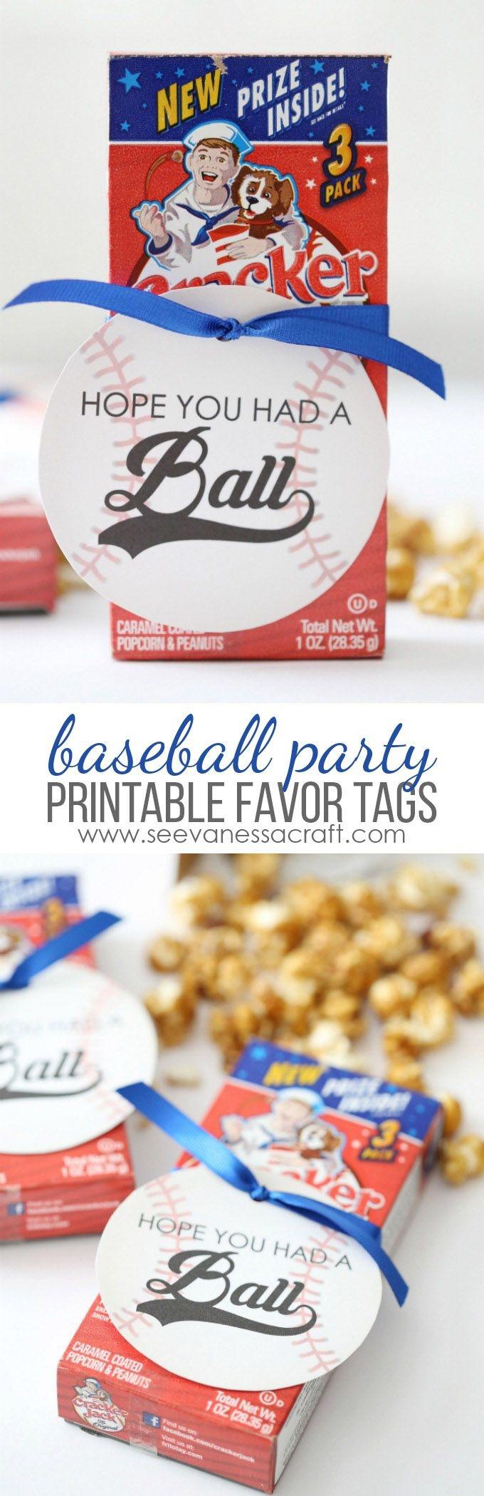 Baseball Birthday Party Favor Tags   Printables   Baseball Party - Free Printable Baseball Favor Tags