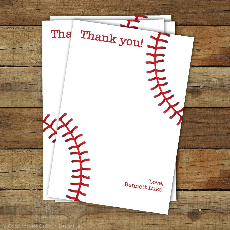 Baseball Thank You Card Printable Baseball Thank You   Etsy - Free Printable Baseball Stationery