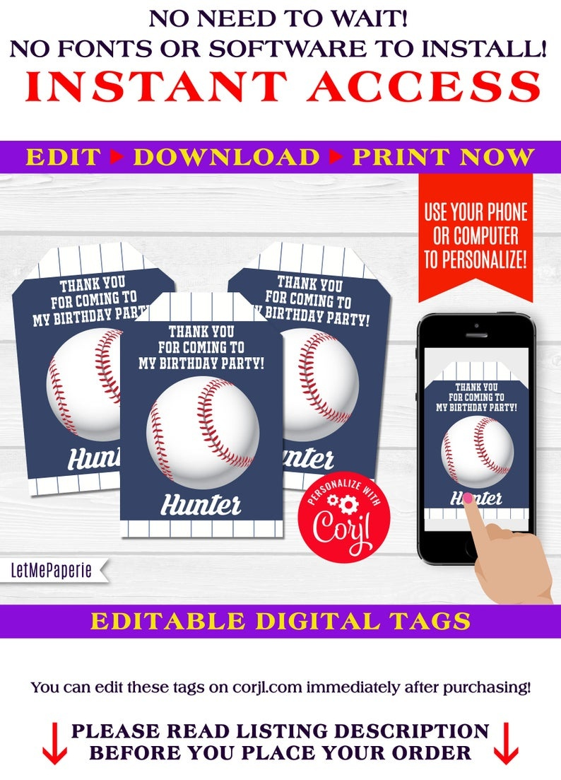 Baseball Thank You Tags Editable Baseball Party Favor Tag   Etsy - Free Printable Baseball Favor Tags