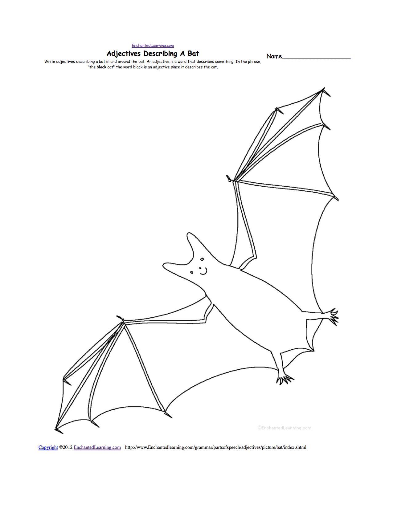Bats At Enchantedlearning - Free Printable Bat Writing Paper