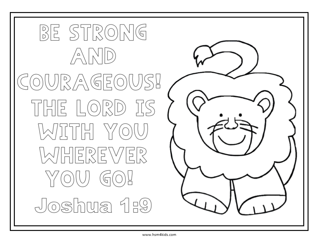 Be Strong And Courageous Free Bible Coloring Worksheet.   Church - Free Printable Bible Lessons For Toddlers