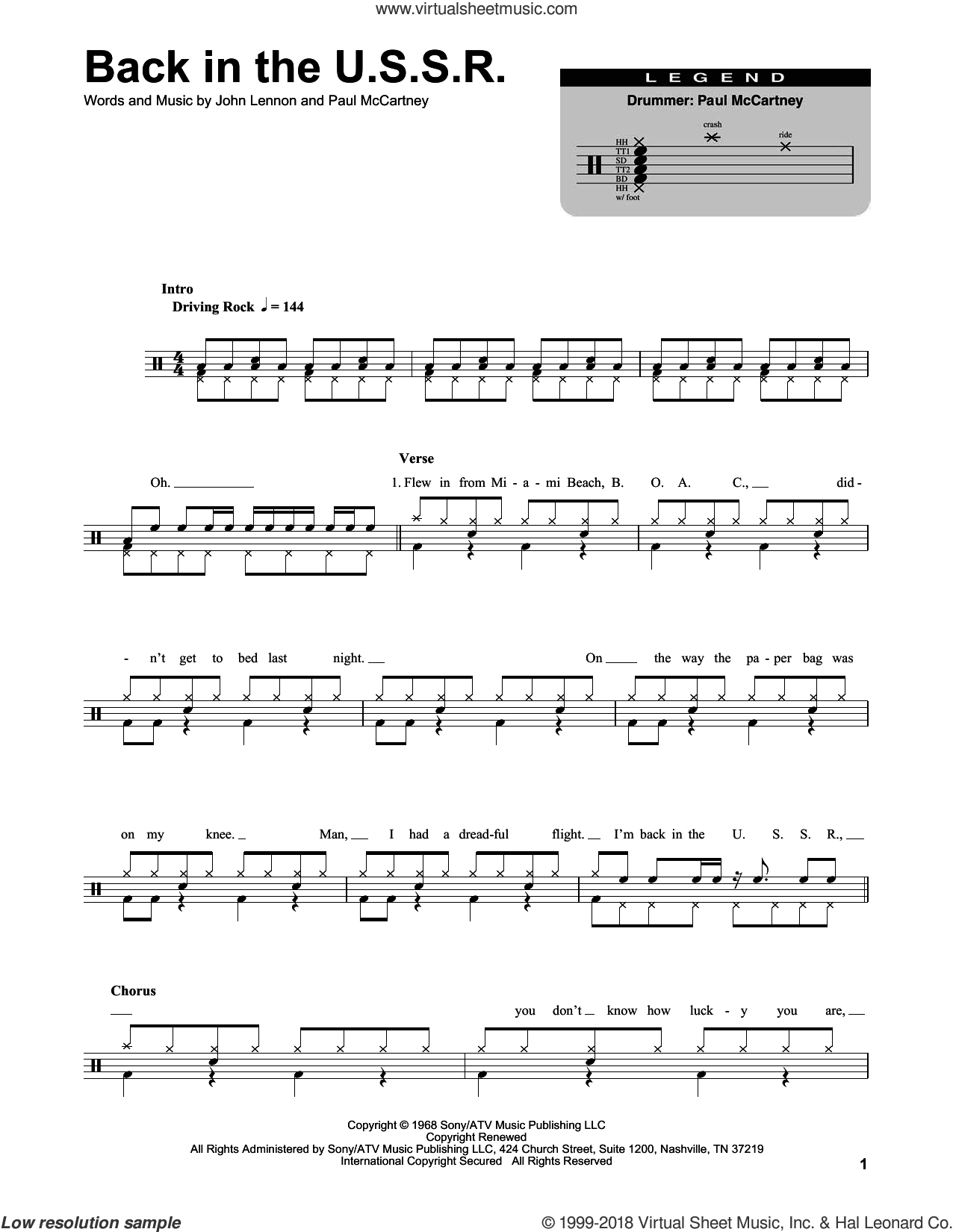 Beatles - Back In The U.s.s.r. Sheet Music For Drums [Pdf] - Free Printable Drum Sheet Music