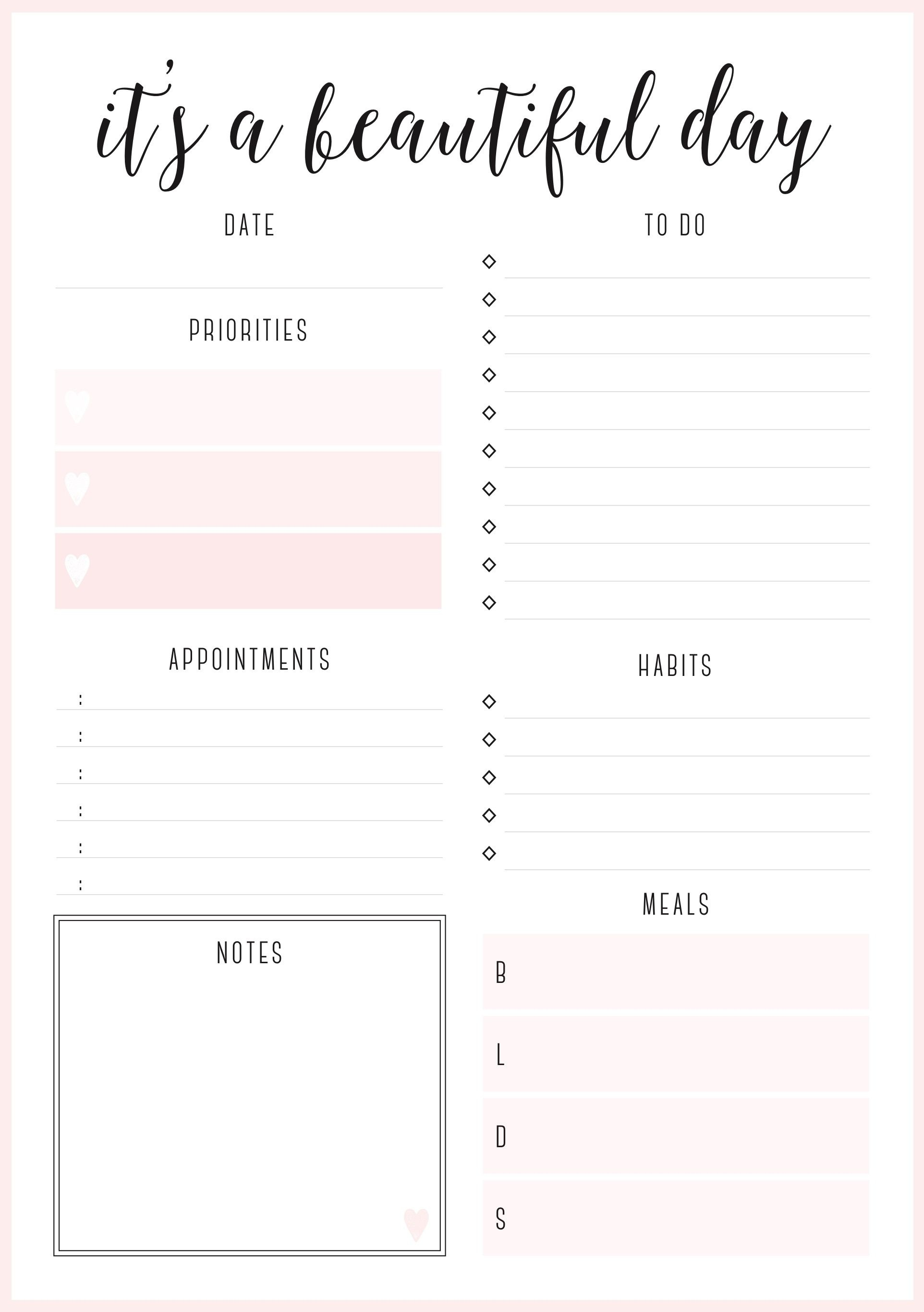 Beautiful Daily Planners - Free Printables | Planner Pages - Free Printable Diary Pages