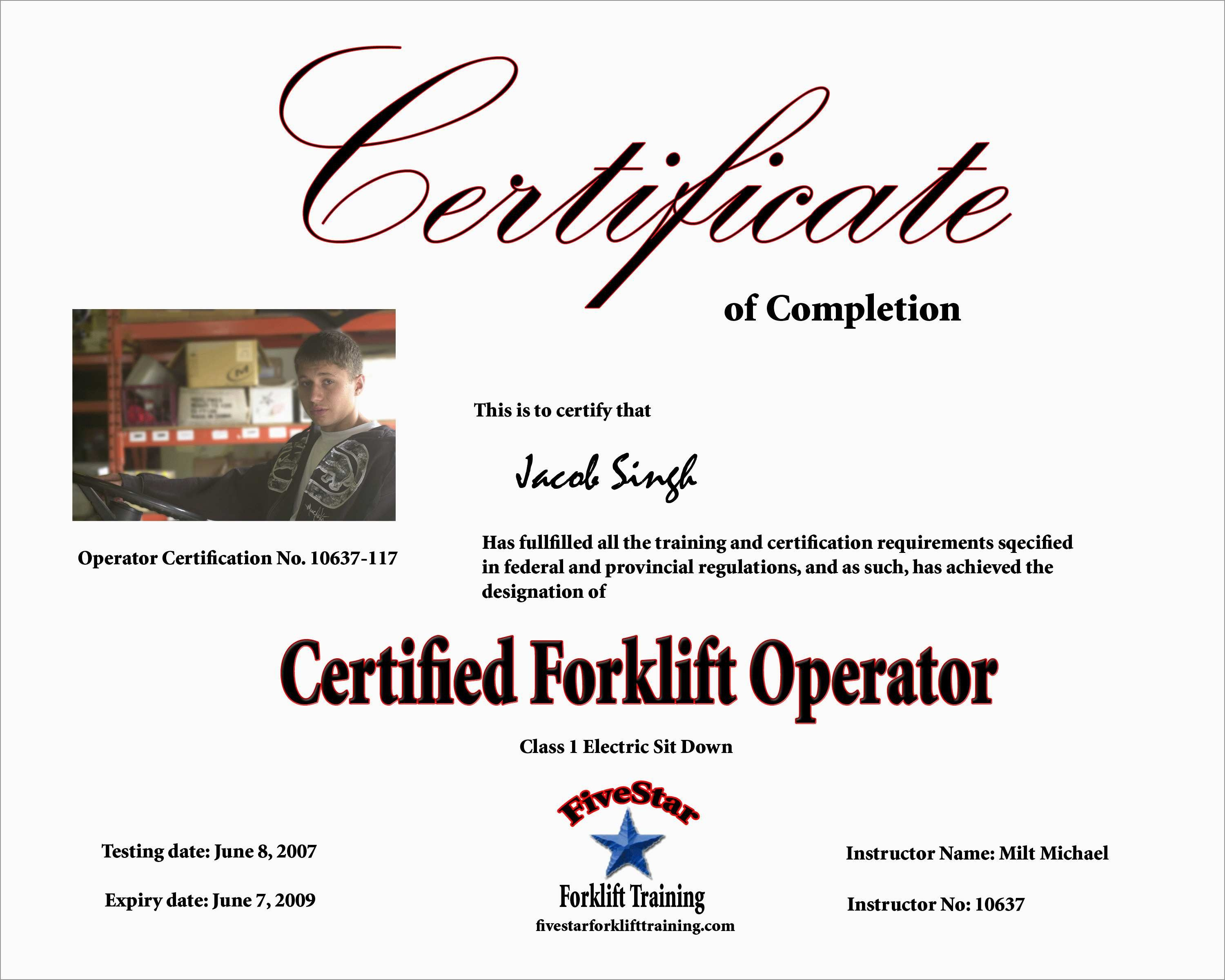 Beautiful Forklift Certification Card Template Free | Best Of Template - Free Printable Forklift License Template