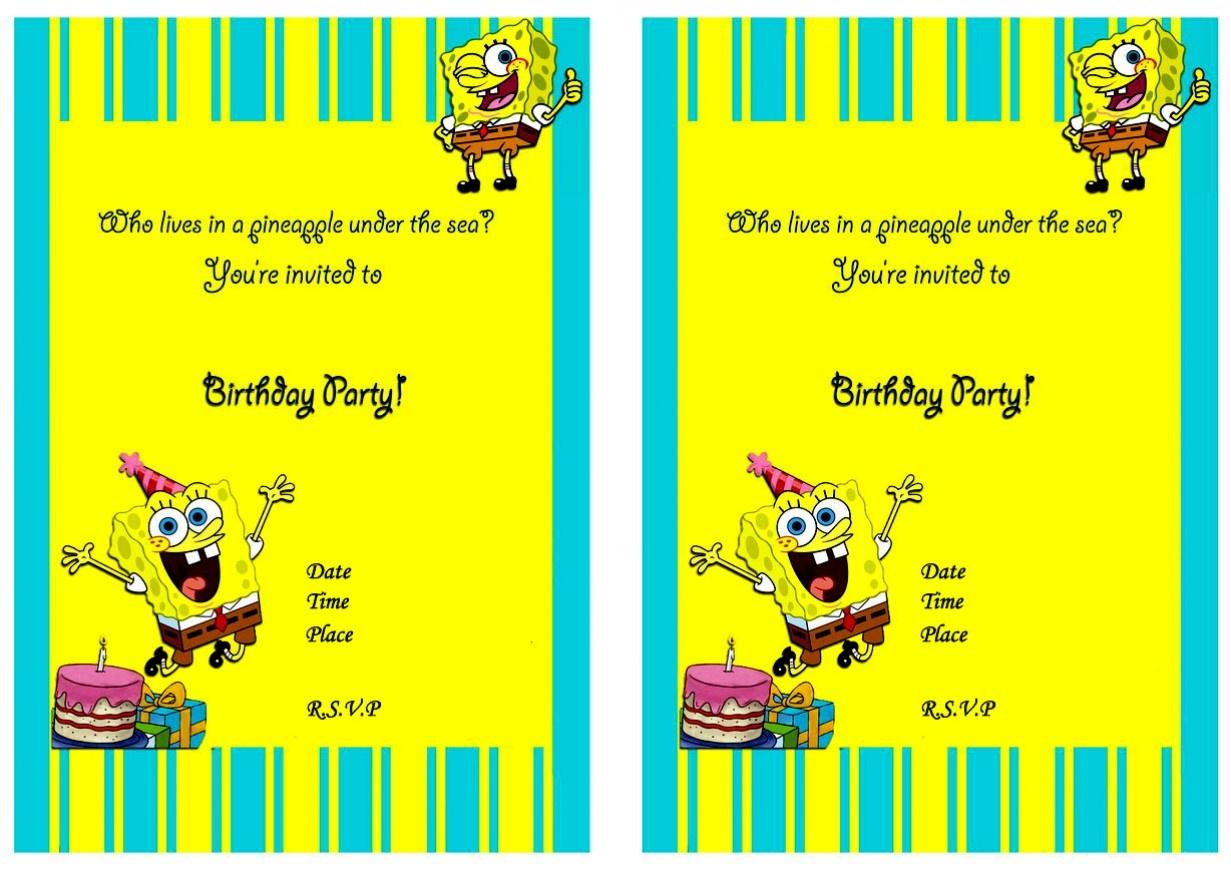 Beautiful Spongebob Birthday Invitations Free Invitation Template - Spongebob Free Printable Invitations