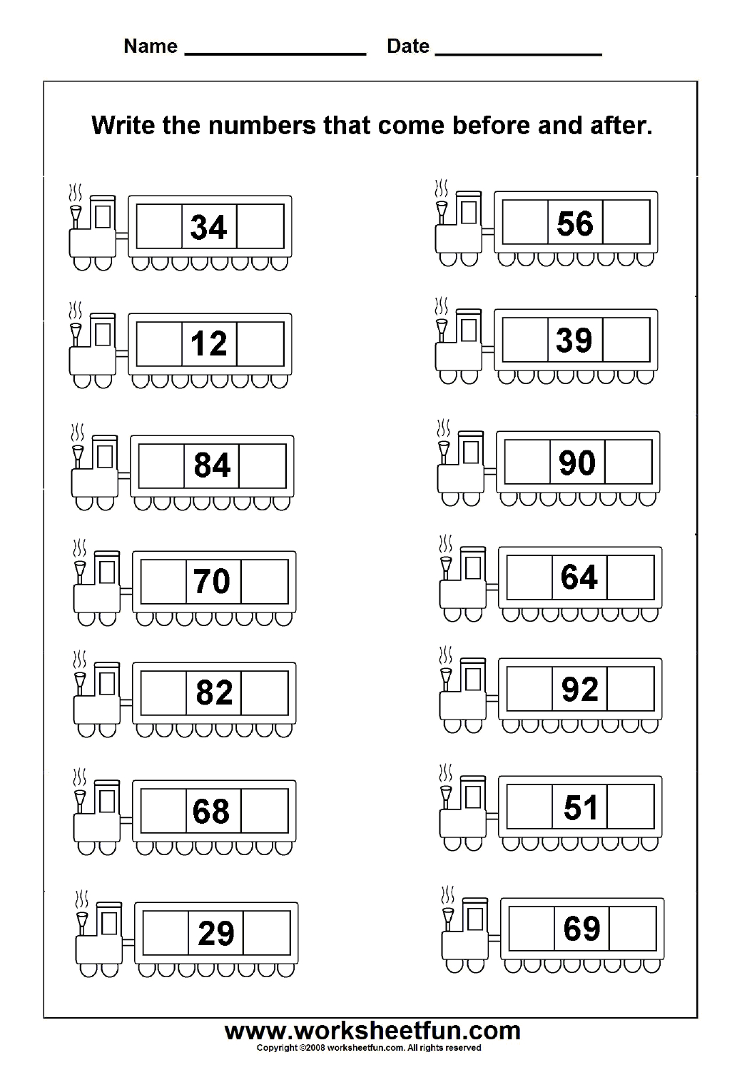 Before & After Numbers - 2 Worksheets   Printable Worksheets   Math - Free Printable Hoy Sheets