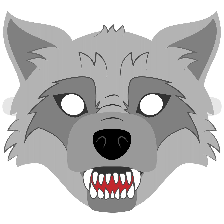 Big Bad Wolf Mask Template   Free Printable Papercraft Templates - Free Printable Wolf Face Mask