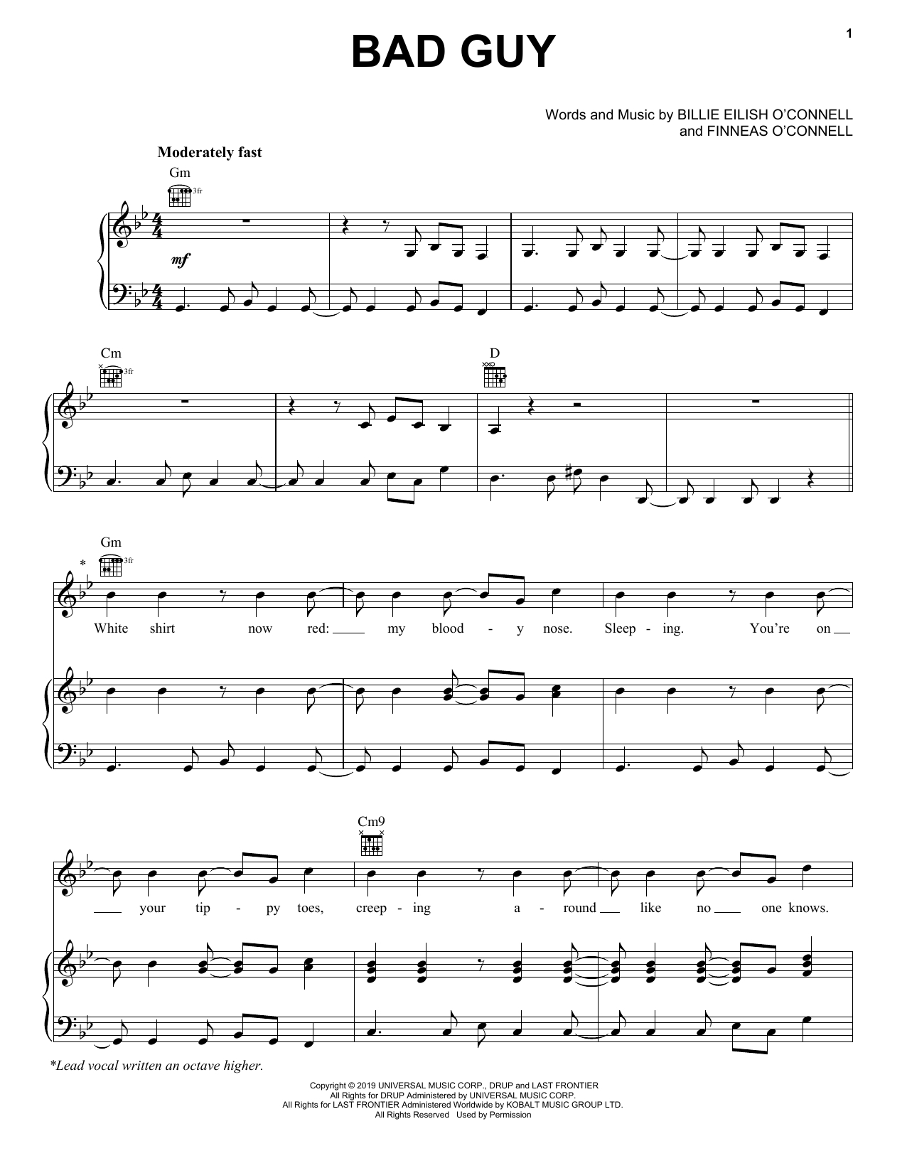 Billie Eilish 'bad Guy' Sheet Music, Notes & Chords In 2019 - Bad Day Piano Sheet Music Free Printable