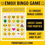 Birthday Party Free Printables & Games – Download Free Party   Free Emoji Bingo Printable