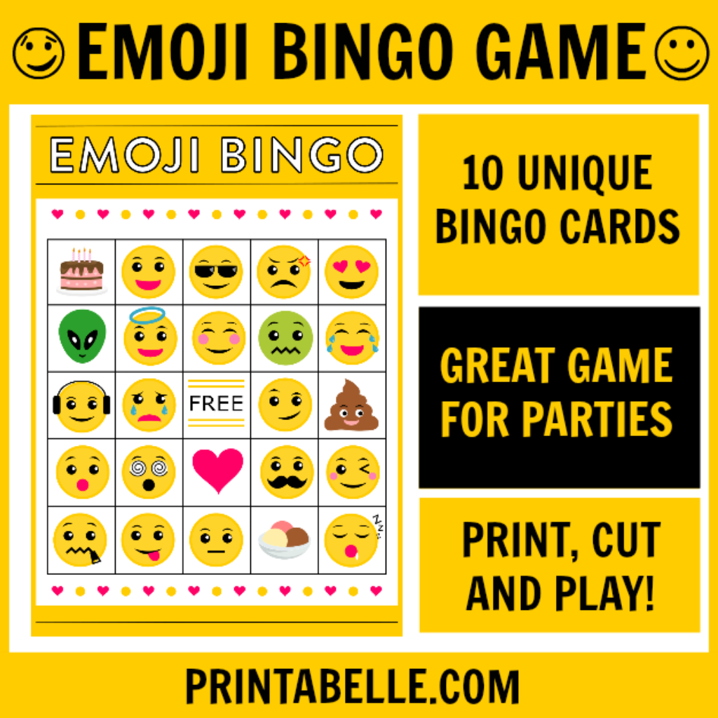 Birthday Party Free Printables & Games – Download Free Party - Free Emoji Bingo Printable