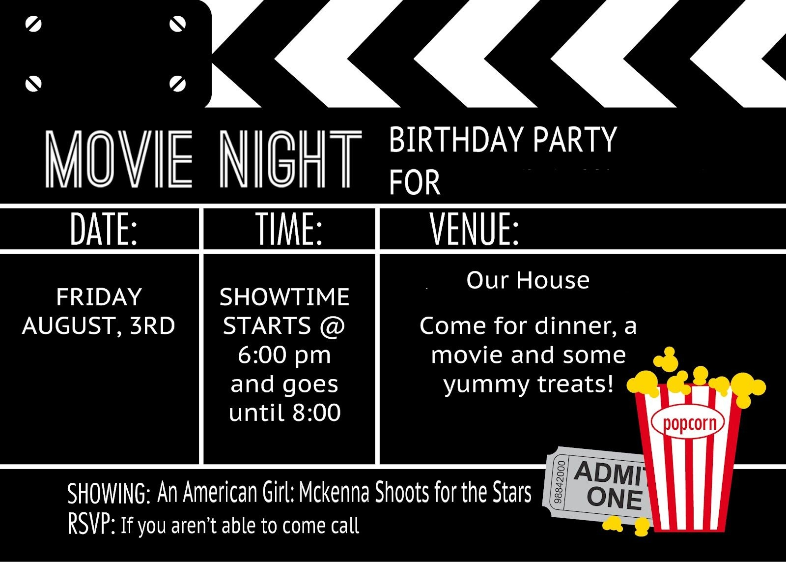 Birthday Party Invitation Templates Movie Theme   Kalli's 13Th - Movie Night Birthday Invitations Free Printable