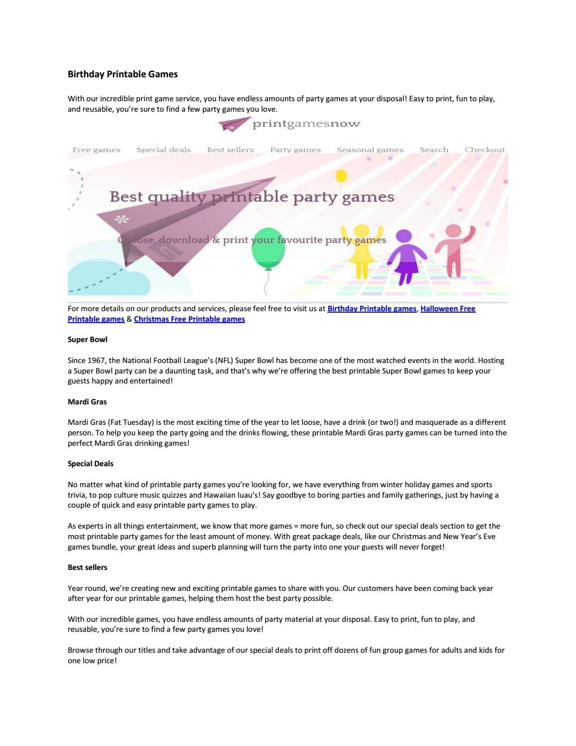 Birthday Printable Gamesprintgamesnow - Issuu - Free Printable Mardi Gras Games