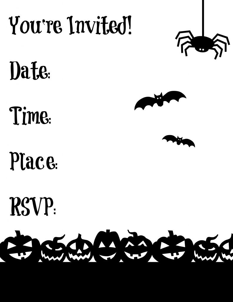 Black And White Halloween Invitations Printable - Halloween Invitations Free Printable Black And White