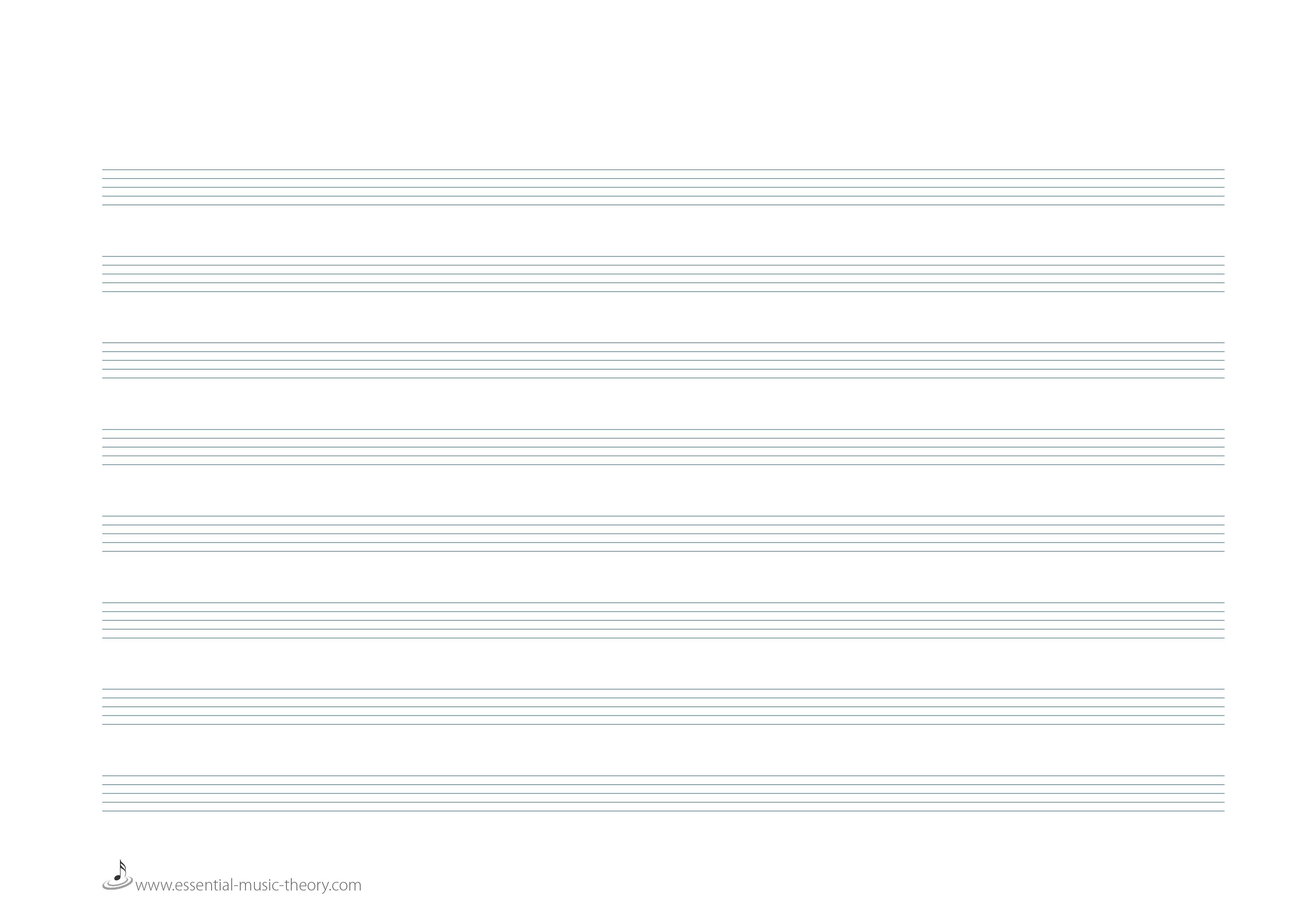 Blank Manuscript Paper - Free Printable Blank Music Staff Paper