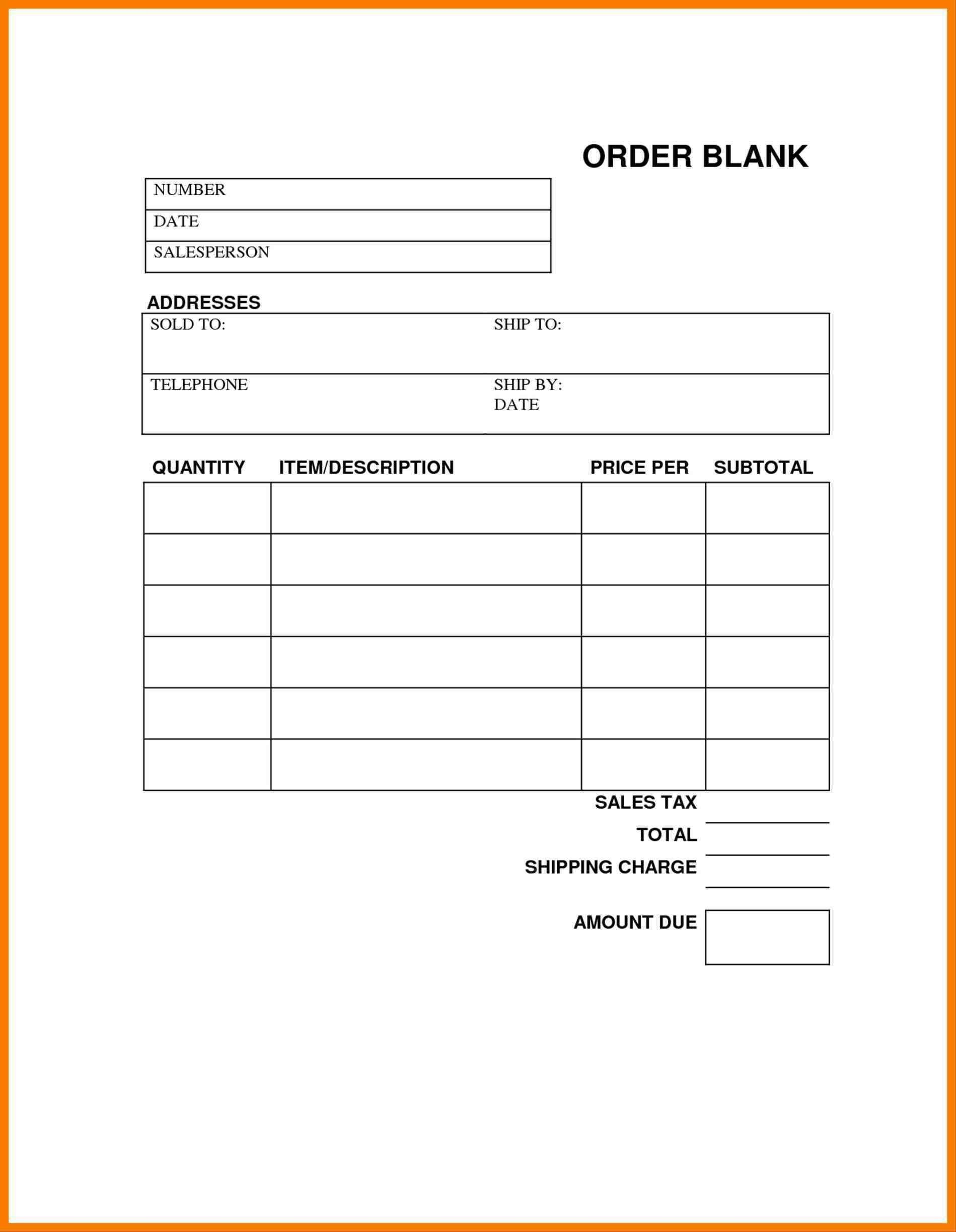 Blank Order Forms Templates Free | Free Tamplate | Order Form - Free Printable Order Forms