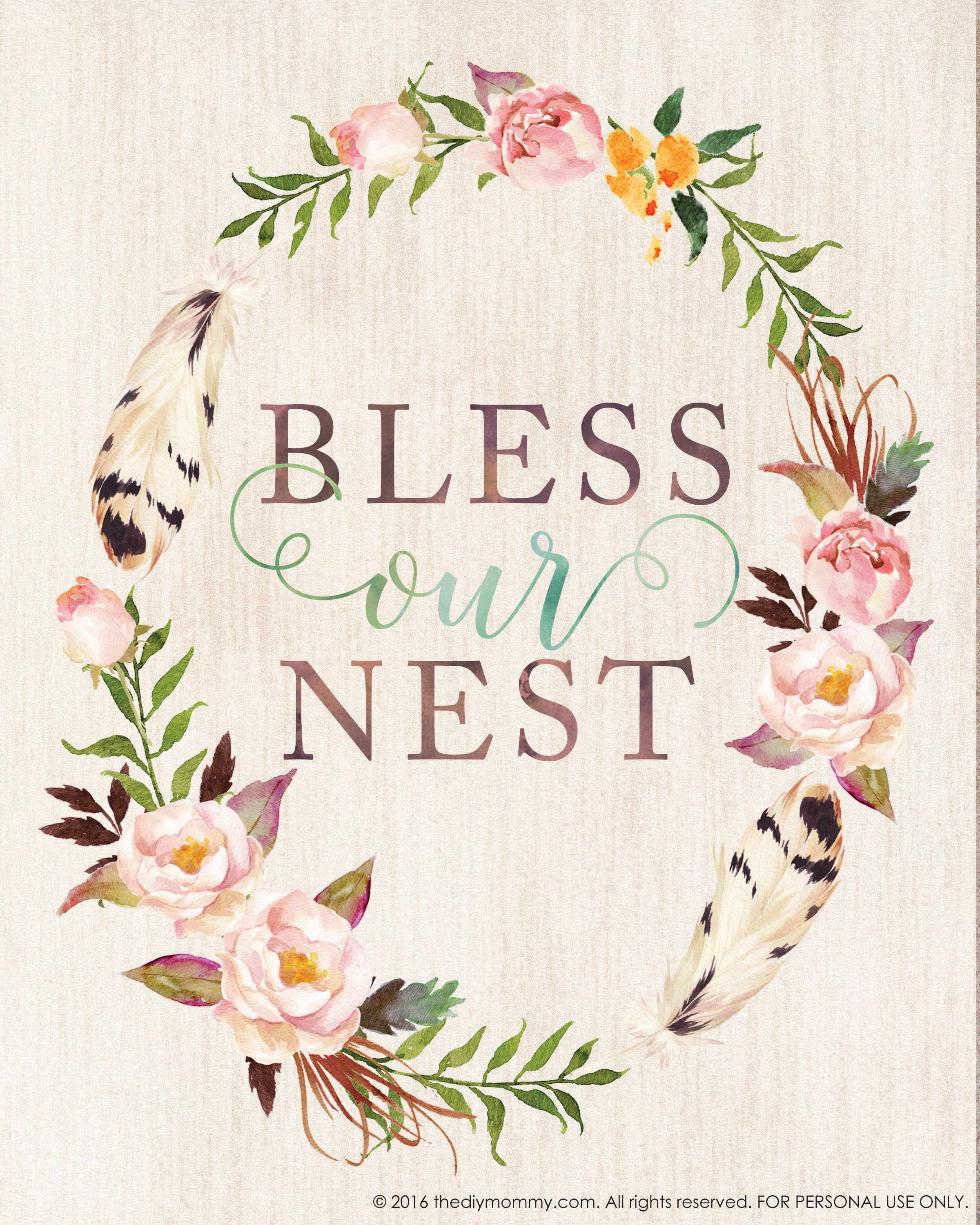 Bless Our Nest - Free Printable Watercolor Artwork For Spring - Free Printable Artwork