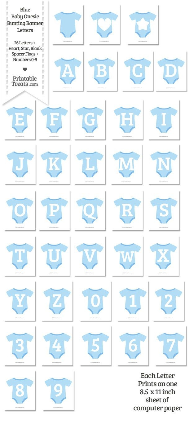Blue Baby Onesie Shaped Banner Letters Download From Printabletreats - Free Printable Baby Shower Banner Letters