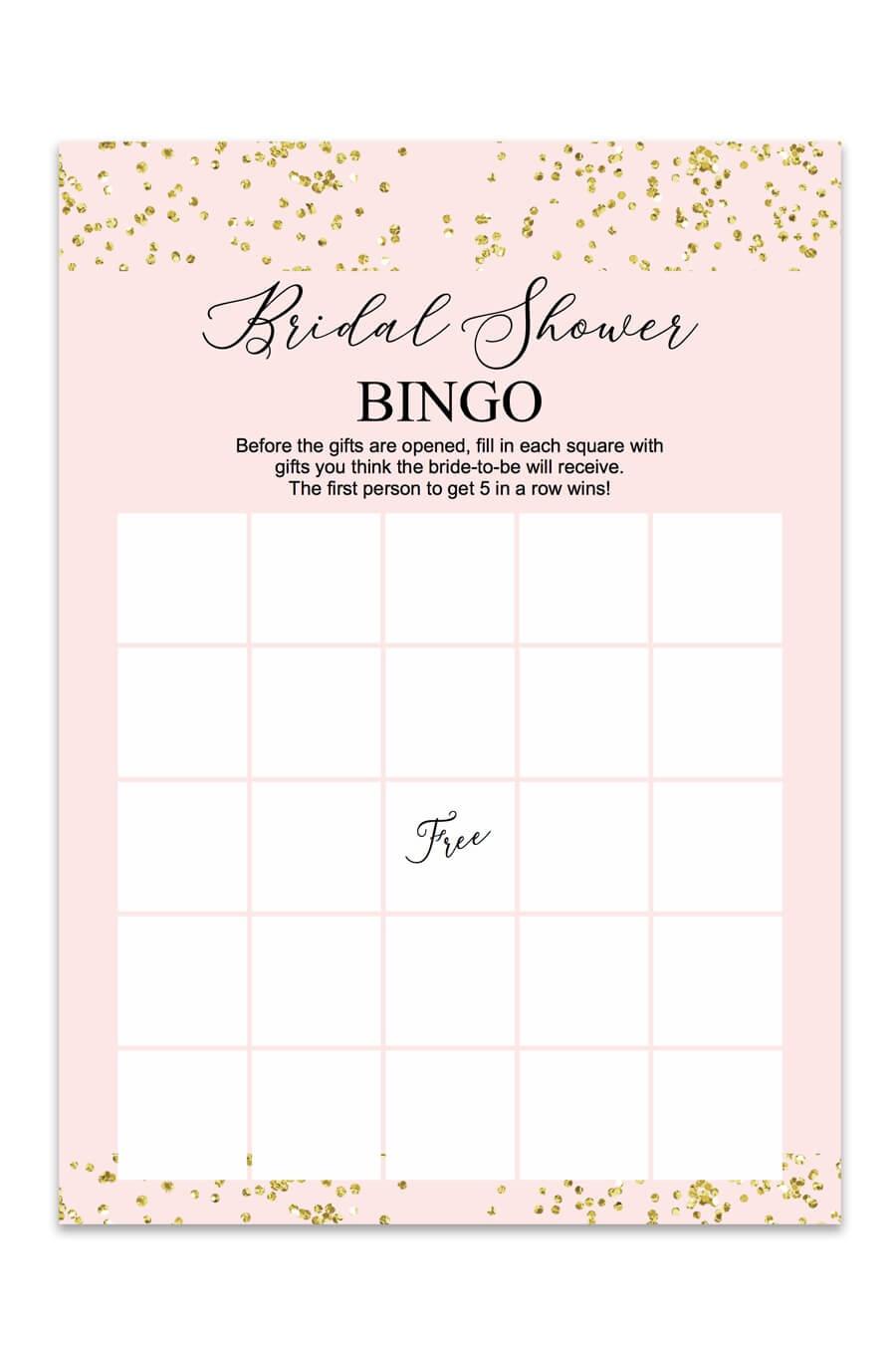 Blush And Confetti Bridal Shower Bingo - Chicfetti - Free Printable Bridal Shower Bingo