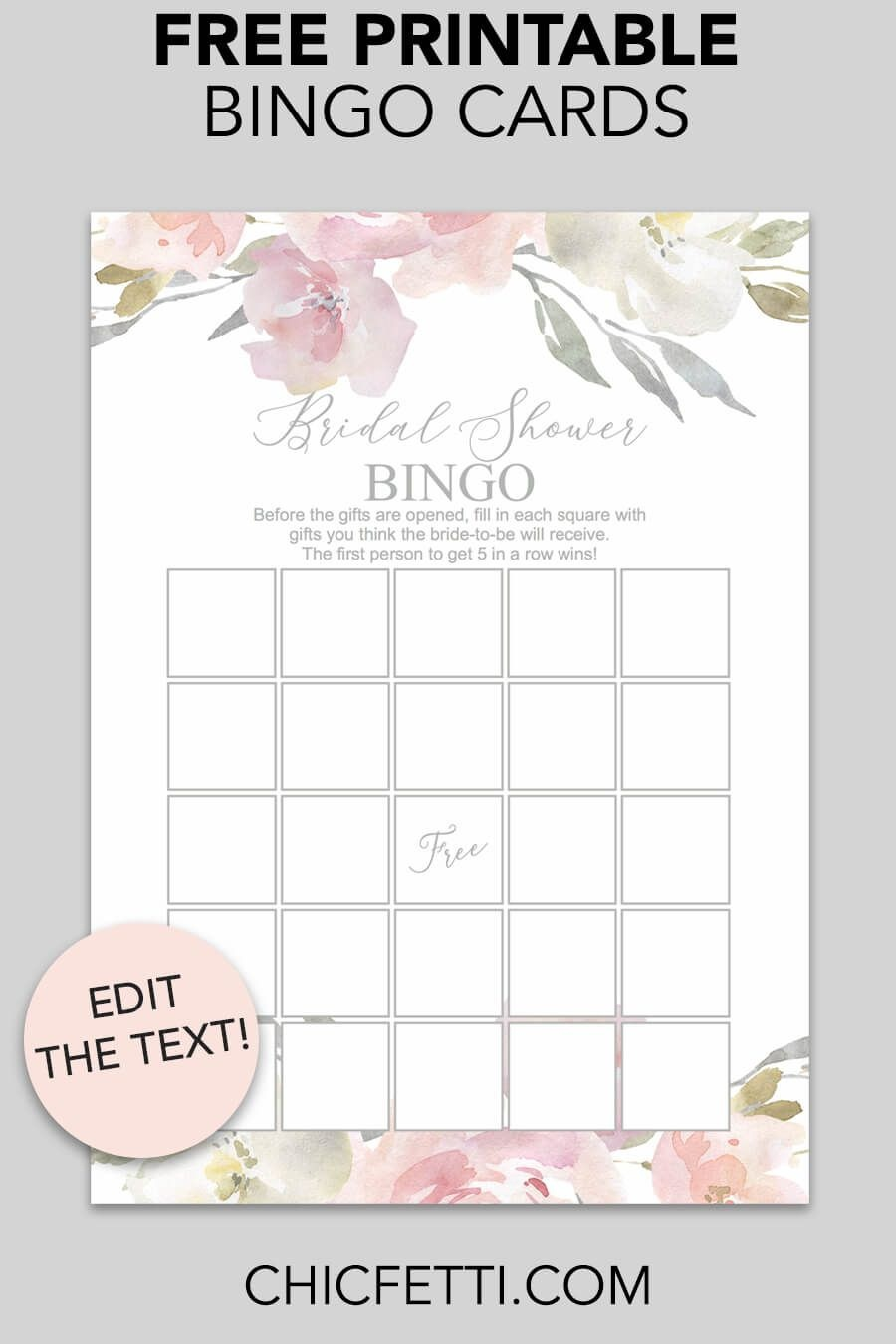Blush Floral Printable Bridal Shower Bingo   Free Printables - Free Printable Bridal Shower Cards