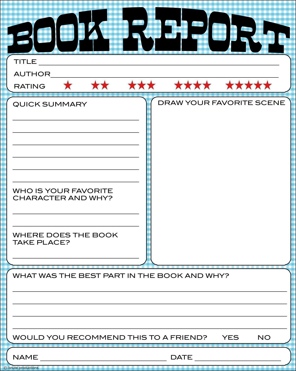 Bnute Productions: Free Printable Kids Book Report Worksheet | Book - Free Printable Books For 5Th Graders