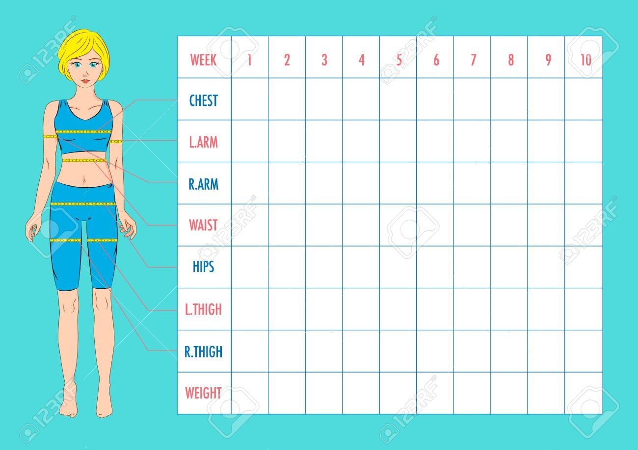 Body Measurement Tracking Chart Layout. Blank Weight Loss Chart - Free Printable Weight Loss Tracker Chart