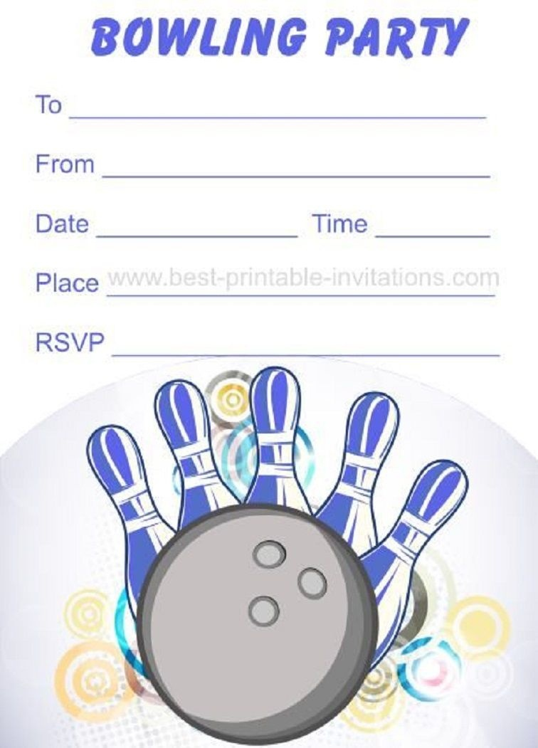 Bowling Party Invitations Free Printable | Party Invitation Card In - Free Printable Bowling Birthday Party Invitations