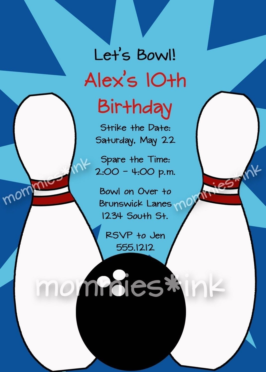 Bowling Pin Invitation Template • Invitation Template Ideas - Free Printable Bowling Birthday Party Invitations