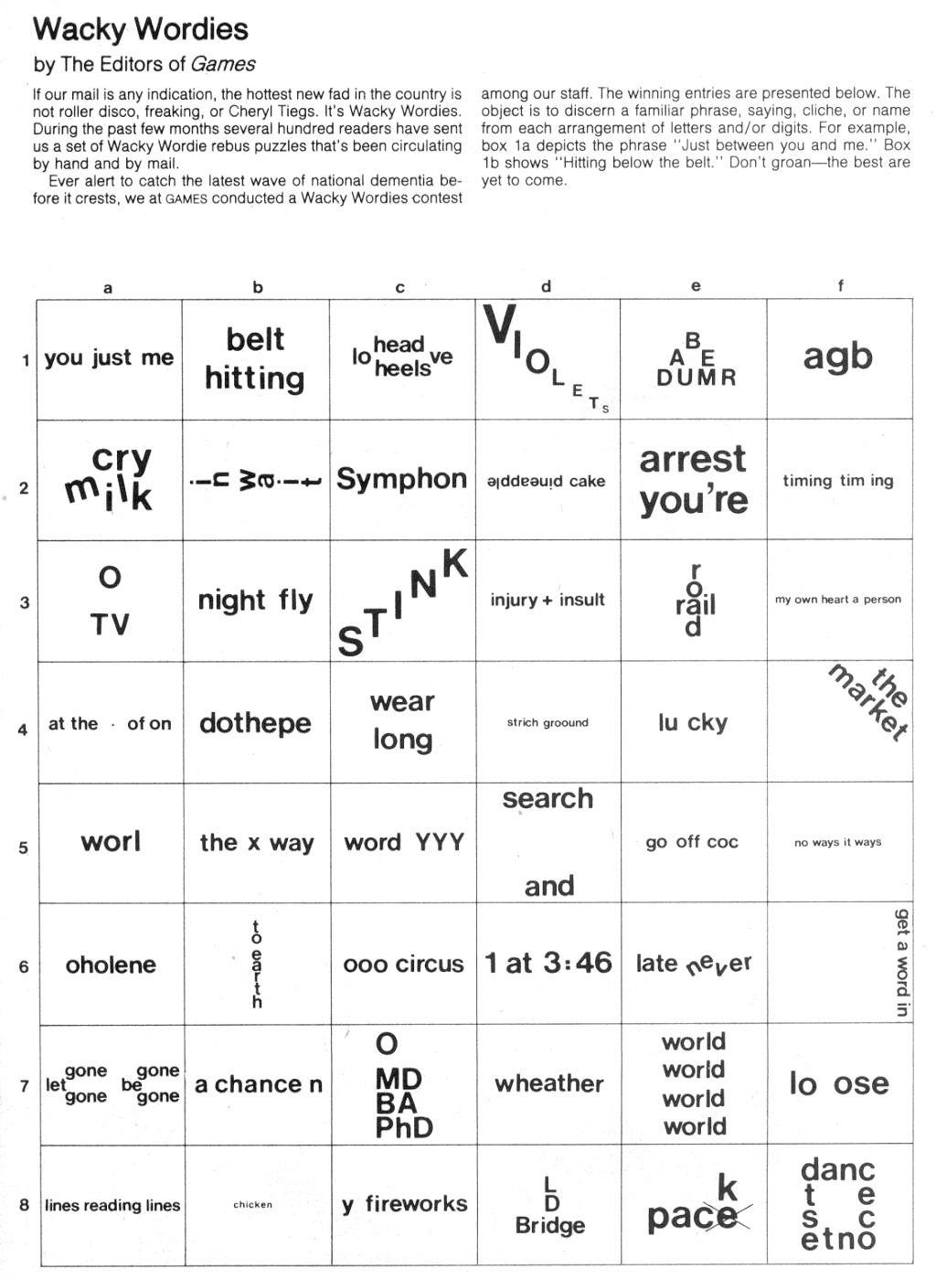 Brain Teasers: Wackie Wordies   School Stuff   Word Puzzles, Brain - Free Printable Word Winks