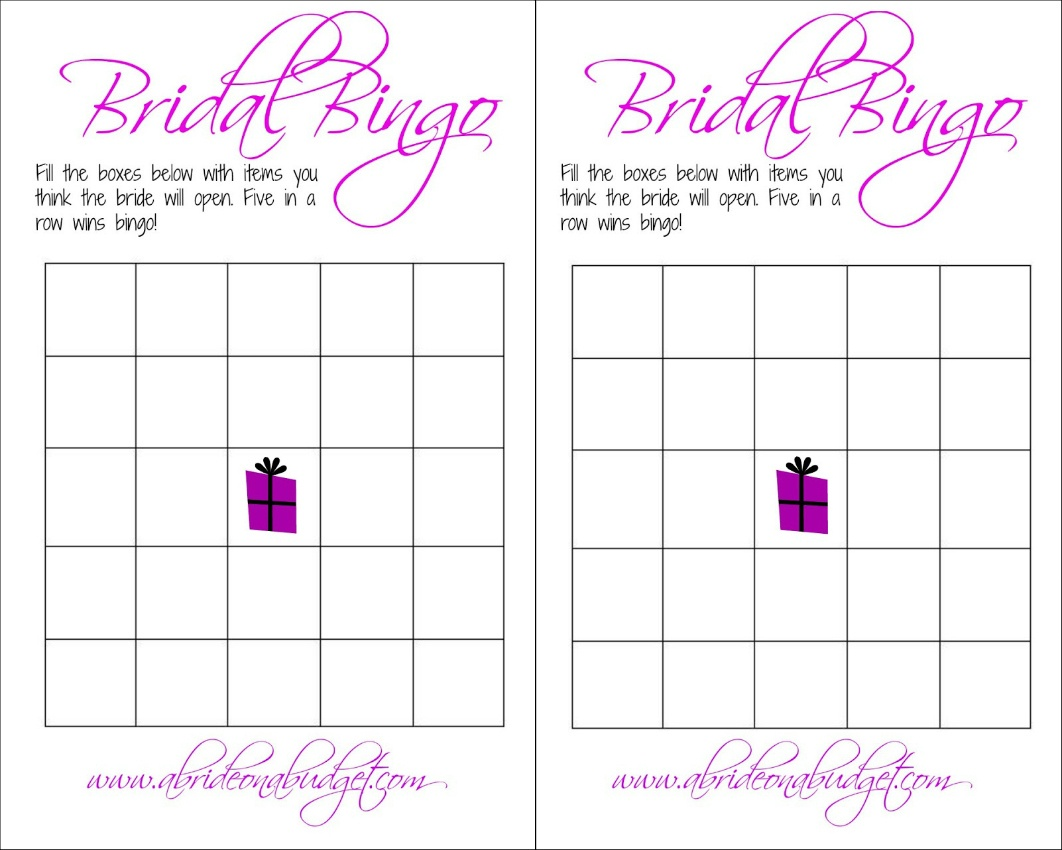 Bridal Bingo (And A Free Printable)   A Bride On A Budget - Free Printable Bridal Shower Blank Bingo Games