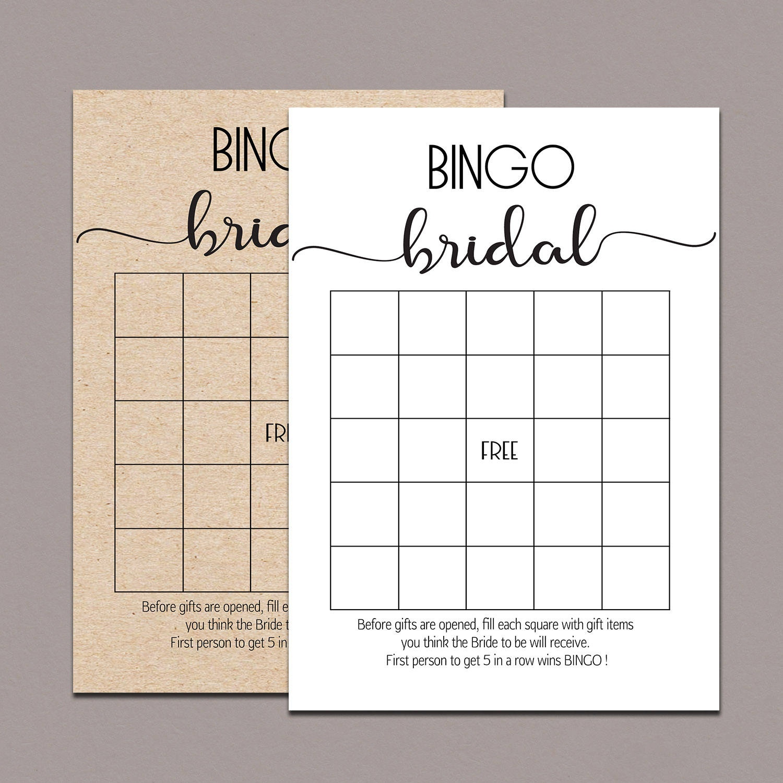 Bridal Shower Bingo Cards Bridal Bingo Cards Bridal Bingo | Etsy - Free Printable Bridal Shower Bingo