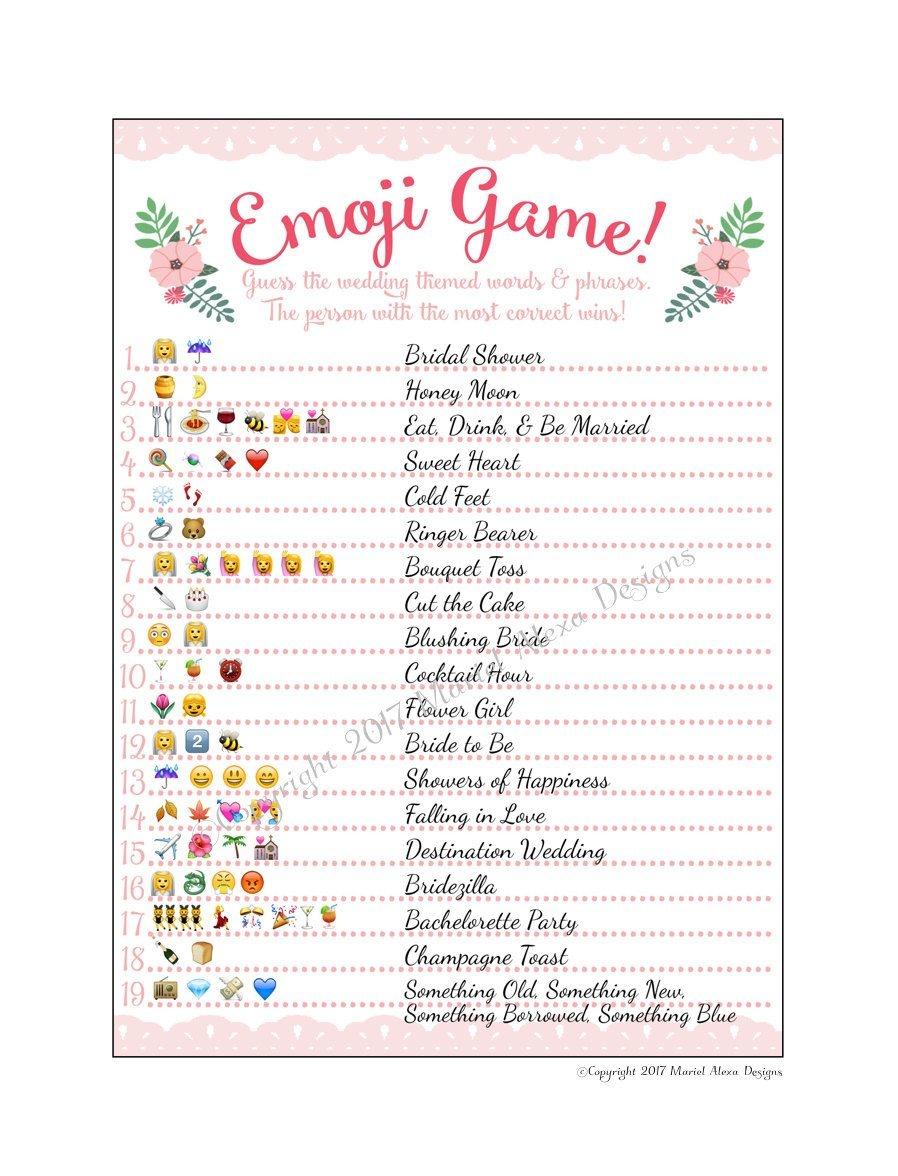 Bridal Shower Emoji Game - Fun Unique Games Diy Pdf Wedding - Emoji Bridal Shower Game Free Printable