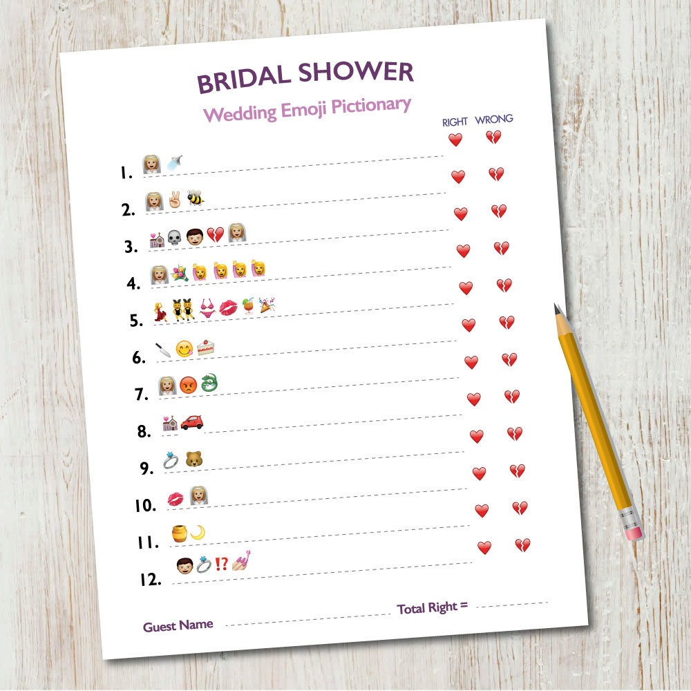 Bridal Shower Emoji Pictionary / Wedding Emoji Pictionary / | Etsy - Emoji Bridal Shower Game Free Printable